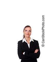 businesswoman in black suit - portrait of young...