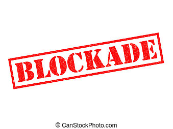 BLOCKADE Rubber Stamp - BLOCKADE red rubber Stamp over a...