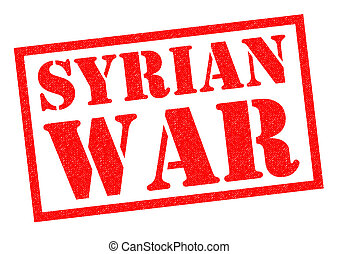 SYRIAN WAR red Rubber Stamp over a white background.