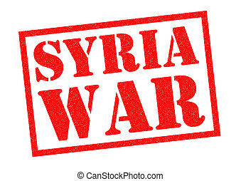 SYRIA WAR red Rubber Stamp over a white background.