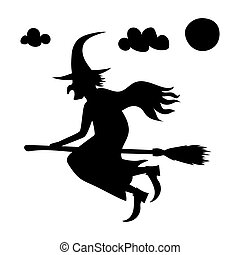 he scary witch flying on a broomstick - halloween creepy...