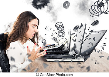 Businesswoman overworked worn computers - Businesswoman with...