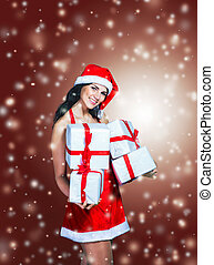 beautiful girl in costume of Santa Claus with shopping at...