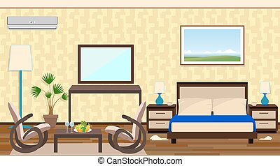 Flat style interior of a hotel room with rest zone, furniture, decoration