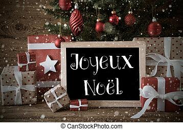 Nostalgic Tree, Joyeux Noel Means Merry Christmas, Snowflakes