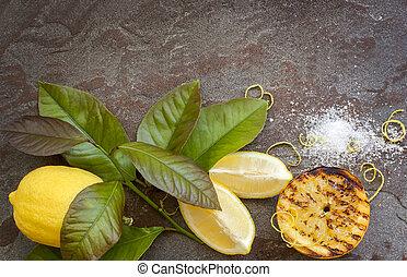 alimento, limão, fundo