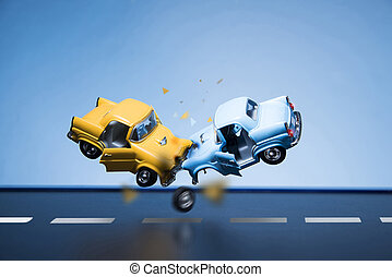 Traffic Accident - Classic fifties scale model toy cars...