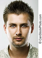 Magnetic eyes - Beauty portrait of young man with magnetic...