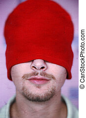 Red hat - Young man in a red hat