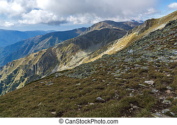 Green hills of Rila Mountain - Panorama of Green hills of...