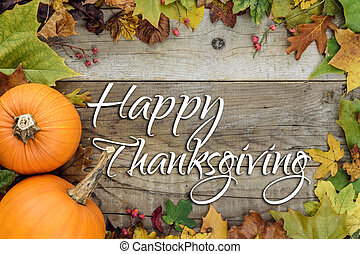 Happy Thanksgiving Holiday Card - Autumn Holiday Background...