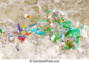 Plastic bottles waste in polluted water environment