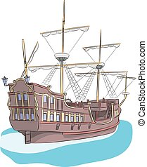 Vector. Sailing ship. - The old wooden sailing ship in the...
