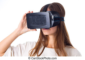 Woman using VR glasses - Pretty young woman in white shirt...