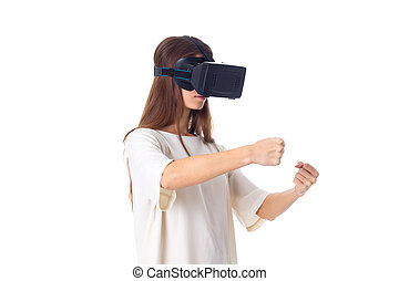 Woman using VR glasses - Beautiful young woman in white...