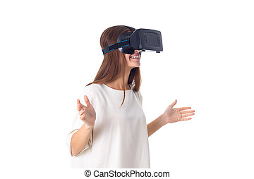 Woman using VR glasses - Young smiling woman in white shirt...