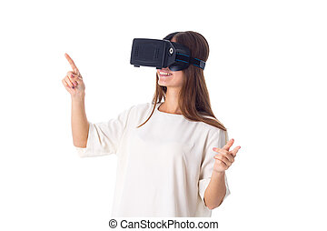 Woman using VR glasses - Young happy woman in white shirt...