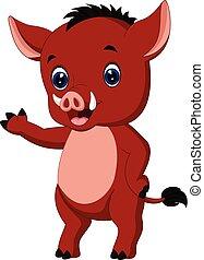 Cartoon warthog - Illustration of Cute warthog cartoon