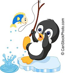 penguin fishing - Illustration of penguin fishing cartoon