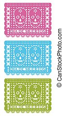 Day Of The Dead, Cut Out Paper Set - papel picado muertos