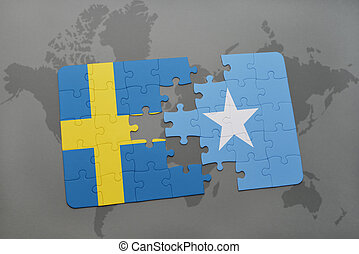 puzzle with the national flag of sweden and somalia on a...
