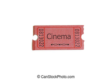 """Single ticket on white, with \""""cinema\"""" text"""