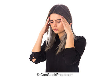Woman having a headache - Young woman with dark hair in...