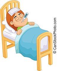 cartoon Sick girl in bed