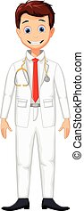 young professional doctor cartoon - vector illustration of...