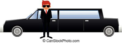 Limousine and driver vector - Vector illustration of a...