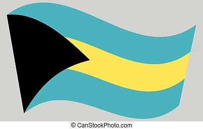Flag of Bahamas waving on gray background