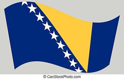 Flag of Bosnia and Herzegovina wavy, gray backdrop - Bosnian...