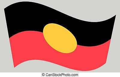 Australian Aboriginal flag waving, gray background