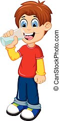 cute boy cartoon drinking water