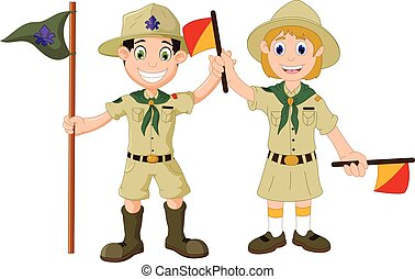 boy scout and girl scout cartoon - vector illustration of...