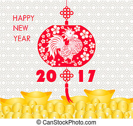 happy Chinese new year 2017 card is Gold coins money,...