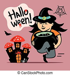 Vector Halloween Witch with cauldron Cartoon Illustration. -...