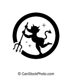 Vector imp with trident Cartoon Illustration. - Demon with a...