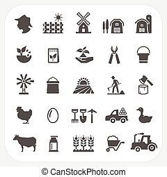 Farm and agriculture icons set