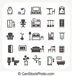 Furniture icons set, Home Interior Objects
