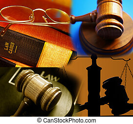 assorted law images gavel, law books, scale