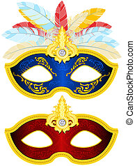 Masquerade Mask - Two Masquerade Mask with feather in...