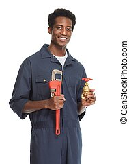 African American Plumber. - African American plumber with...