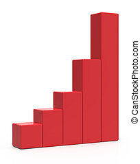 red bar chart - 3d rendering red colored bar chart, isolated...