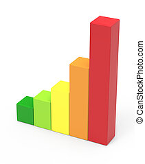 five colored bar chart - 3d rendering five colored bar...