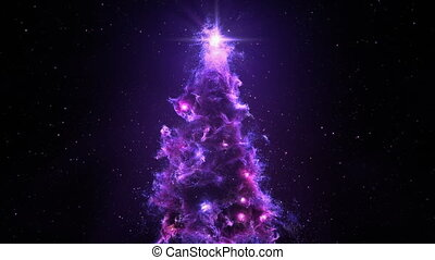 3D Space Flight Around Christmas Tree Nebula in Space Full 4K Loop Purple