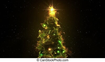 3D Space Flight Around Christmas Tree Nebula in Space Full Loop Green