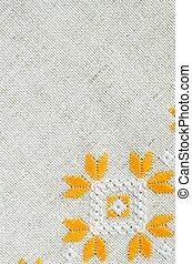 Texture of the vintage homespun linen textile. Background...
