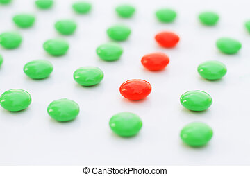 difference made Leadership :red pigment granules in the green.