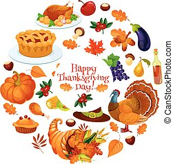 Happy Thanksgiving Day round sticker emblem with vector...